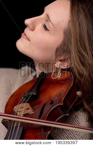 Lovely Woman Side View With Violin