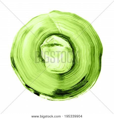 Green Textured Acrylic Circle. Watercolour Stain On White Background.