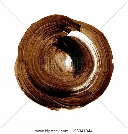 Brown Caramel Textured Acrylic Circle. Watercolour Stain On White Background.