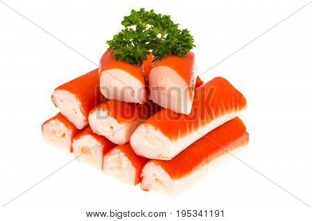 Crab sticks surimi stuffed with cheese on white background. Studio Photo
