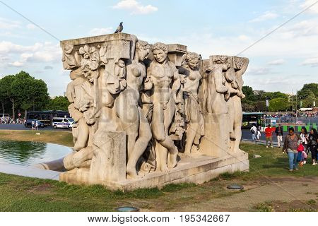 PARIS, FRANCE - JUNE 24, 2017: Sculpture under the title - La joie de vivre. The work of the sculptor Leon-Ernest Drivier was made for the Universal Exhibition of 1937 in the gardens of the Trocadero.