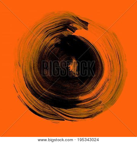 Black Textured Acrylic Circle. Watercolour Stain On Orange Flame Background.