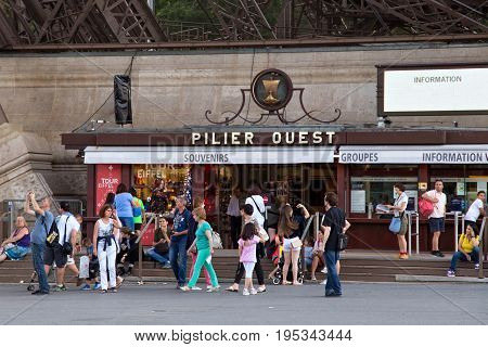 PARIS, FRANCE - JUNE 24, 2017: Souvenir and information office in the Eiffel Tower. Is was constructed from 1887-89 as the entrance to the 1889 World's Fair by engineer Gustave Eiffel.