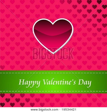 Red greeting card  of Happy Valentines day