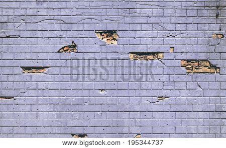 Vintage Wall Background,  Stone Wall With Cracks, Holes And Brick Texture