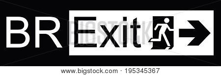 Brexit exit sign representing the United Kingdom exit from the European Union resulting from the June 2016 referendum isolated on black background