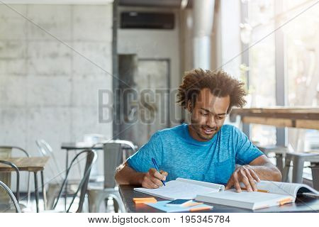 Hardworking Excited African American A-student Feeling Happy After He Solved Complicated Mathematica