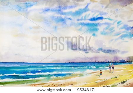 Painting watercolor seascape colorful of jogging in the morning family vacation and tourism in summery sea wave blue sail boat with sky cloud background. Hand painted illustration.