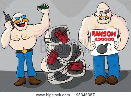 funny computer ransomware cyber crime cartoon vector illustration