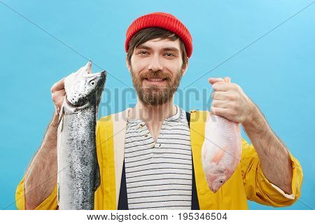 Hobby, Recreation, Leisure And Activity Concept. Cheerful Unshaven Young Fisherman Or Angler In Styl