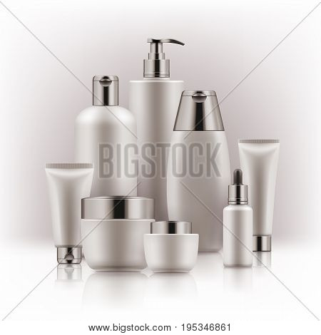 Elegant realistic packages for cosmetic product. Blank templates of containers vial with dropper, bottle for shower gel, lotion, shampoo with pump dispenser, jar, tube for cream. White and silver