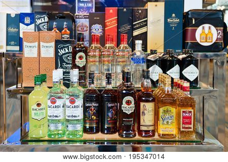 Alcohol Drinks In Duty Free Shop In Airport