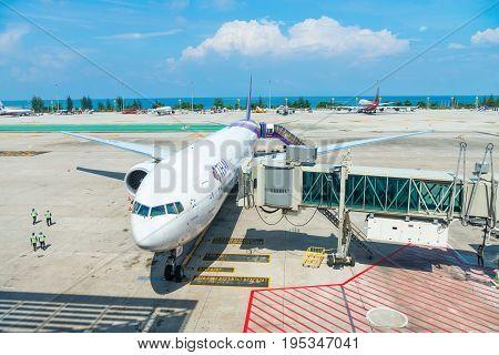 Thai Airways Aiplane In Phuket International Airport