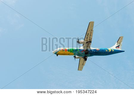 Flying Bangkok Airlines Airplane In Clean Blue Sky