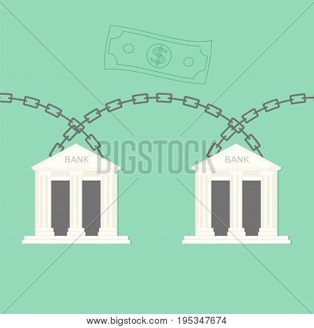 Blockchain bank transaction concept. Stock vector illustration of chains connecting banking houses for distributed database technology use in financial service.