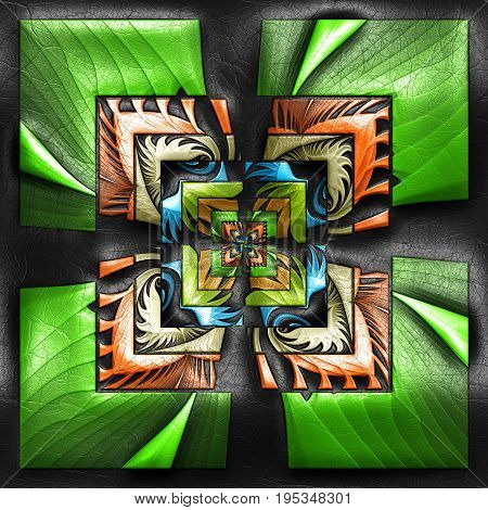 3D rendering of plastic background with embossed striped square fractal on leather