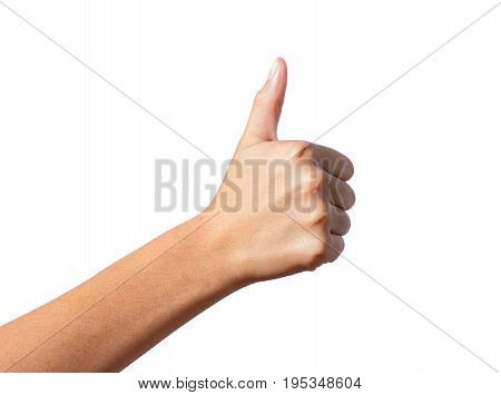 woman hand with thumb up on isolated white background
