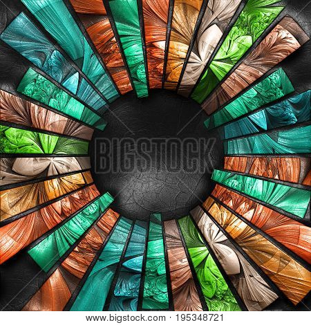 3D rendering of plastic background with embossed striped sun beams fractal on leather