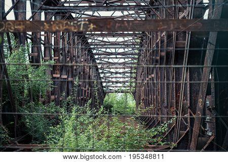 Abandoned Steel Bridge - Rusted Steel Beam Construction