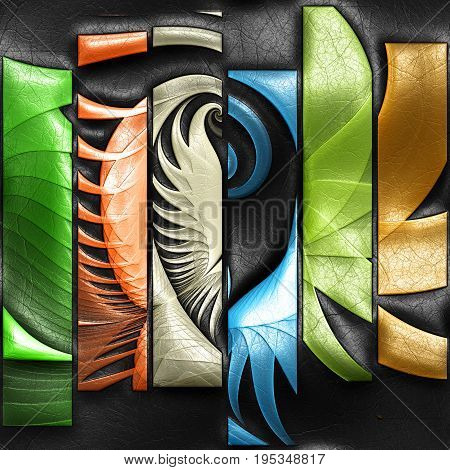 3D rendering of plastic background with embossed striped fractal on leather