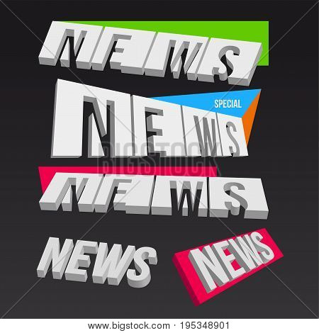 3D colorful news elements on dark background vector illustration