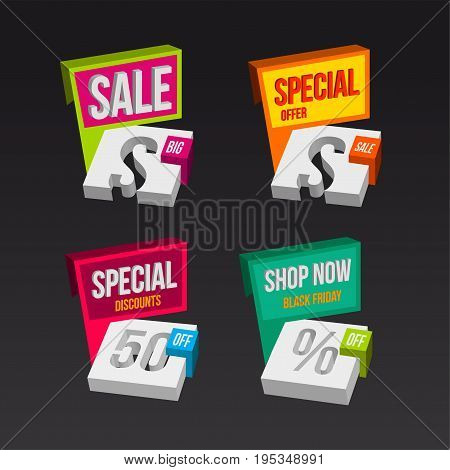 Colorful 3D sales badges concepts special offer discounts. vector illustration.