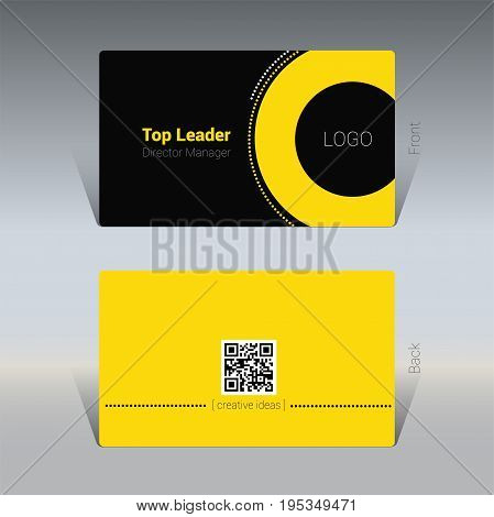 Black and yellow business card design concept Vector Illustration