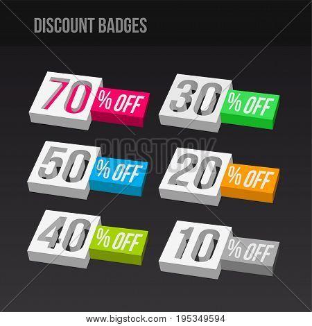 3D colorful discount badges on dark background. vector illustration.