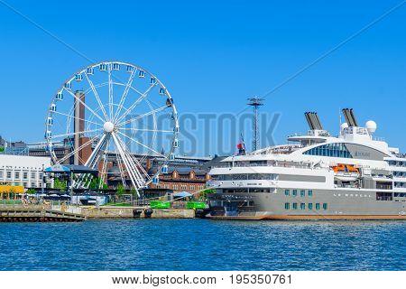 South Harbor, Ferry Ship, The Skywheel, In Helsinki