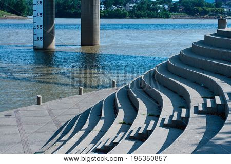 Curved stairs on the banks of the Ohio river in Cincinnati