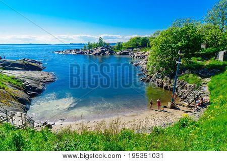 Bay And A Beach In Suomenlinna Island, In Helsinki