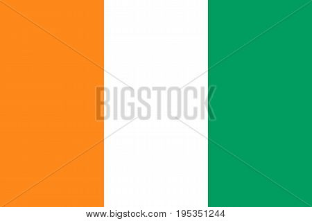 Ivory Coast, C te d Ivoire flag. West African states. Three equal vertical bands of orange, hoist side, white, and green. Flat style vector illustration