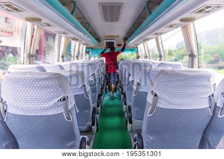 Seat Places In Back Side Of Modern Bus
