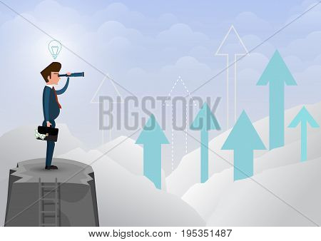 Businessman looking through the telescope at the mountaintop