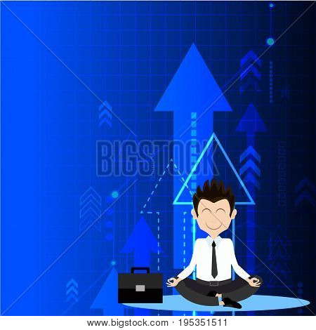 Meditative businessman is looking for the perfect business solution on rowing arrow as a concept of the success.