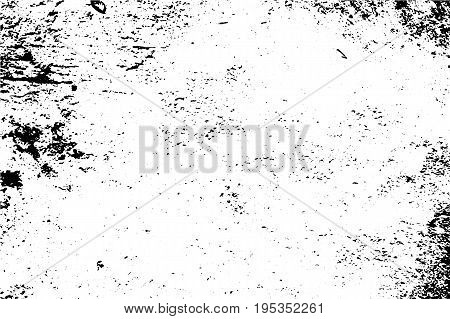 Grunge texture with grain and noise. Obsolete concrete wall. Weathered asphalt surface. Black and white monochrome vector texture. Aged and scratched stone overlay for vintage effect. Grit trace