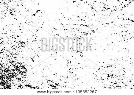 Distressed texture of noise and cracks. Obsolete concrete wall. Weathered asphalt surface. Black and white monochrome vector texture. Aged and scratched stone overlay for vintage effect. Grit trace
