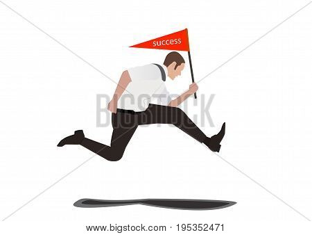 Businessman Jumping and holding Sign success Isolated On White Background