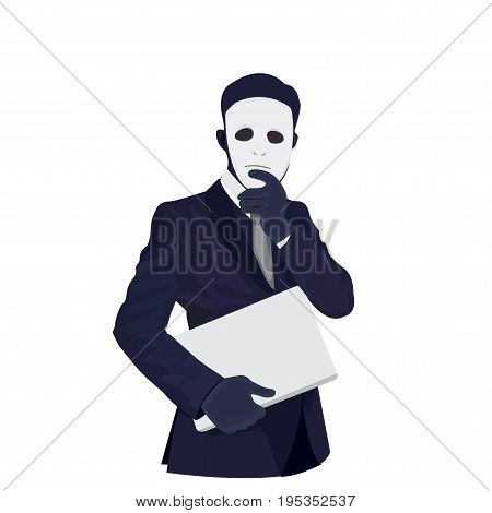 Vector - Businessman wearing a mask vector illustration.