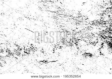 Grunge texture with grain and stains. Obsolete concrete wall. Weathered asphalt surface. Black and white monochrome vector texture. Aged and scratched stone overlay for vintage effect. Grit trace