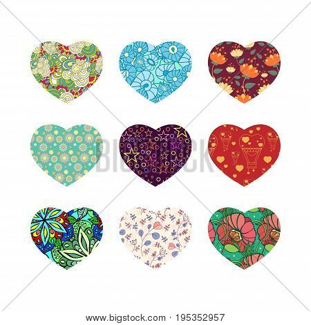 Set of nine hearts with abstract flowers, plants, leaves, balloons, stars and circles, poppies, doodle, scrawl. Vector illustration