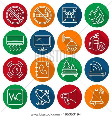 Set of information icons / labels, symbols of housing facilities
