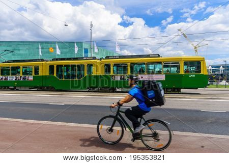 Helsinki Music Center (musiikkitalo), With A Tram And A Cyclist