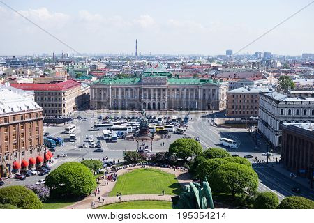 View Of Saint Isaac's Square And The Monument To Nicholas I In St. Petersburg, Russia