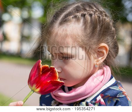 Beautiful girl smelling red tulip against spring flowery background.