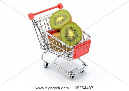 kiwi in shopping cart on white background