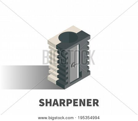 Sharpener icon vector symbol in isometric 3D style isolated on white background.