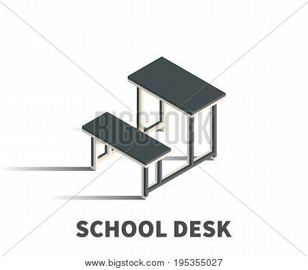 School desk icon vector symbol in isometric 3D style isolated on white background.
