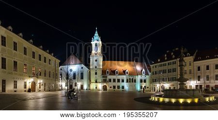 The Main Square (Hlavne namestie) and old Town Hall in the night, Bratislava, Slovakia