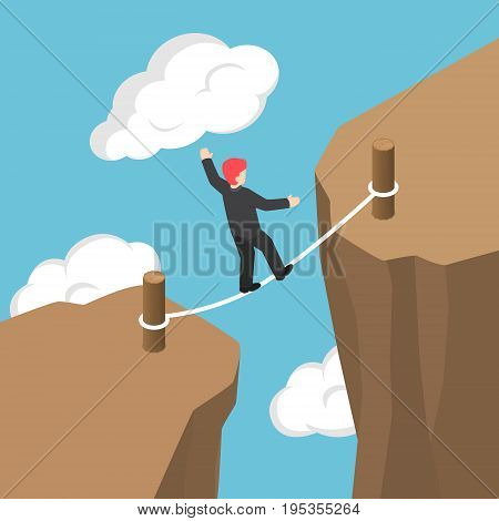 Isometric Businessman Walking And Balancing On Rope Between Cliff Gap